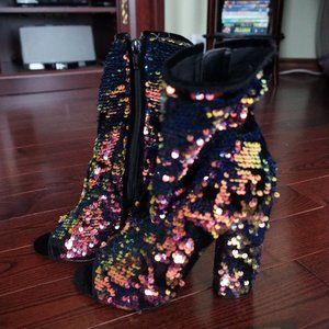 Blue/Orange Sequin Ankle Heeled Boots